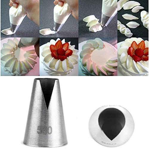 Stainless Steel Flower Icing Piping Nozzles 3Pcs/Set Cake Decorating Tips Home Kitchen DIY Baking Decorating Tools (Nozzle Plate Bottom)