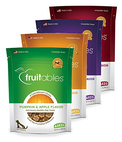 Fruitables Baked Dog Treats Variety 4 Pack - 1 Pumpkin & Apple - 1 Pumpkin & Banana - 1 Pumpkin & Blueberry - 1 Pumpkin & Cranberry - 7 oz Each