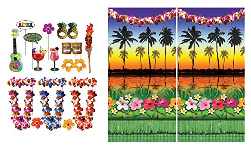 Luau Hawaiian Themed Photo Booth Props and Themed Backdrop Kit - Perfect for Backyard Parties, Holidays, Summer Festivals, Hawaiian Celebrations, Beach and Tiki Pool Parties, Wedding and -