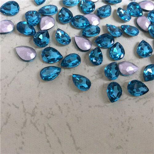 FidgetKute 20x30mm Teardrop Rhinestones Point Back Crystals Glass Pear Strass Chaton 5ps Aquamarine
