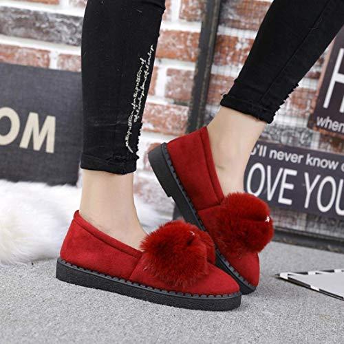 Hiver Chaussures 5 Fluffy Rouge coloré On 4 Rouge Flat Uk Hhgold Slip Automne Taille Mignon 57wqnnH0