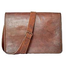 "Handmadecraft ""FS"" 18"" Leather Messenger Satchel Laptop 18X13X6 Vintage Brown Laptop Bag"