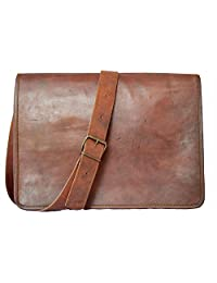 "Handmadecraft ""FS"" 18"" Leather Messenger Satchel Laptop 18X13X6 Vintage Brown Laptop Bag"