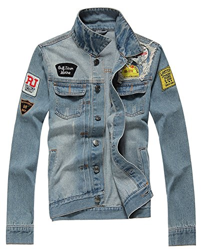 AvaCostume Men's Classic Lightweigth Jean Jacket Coat, L,Large