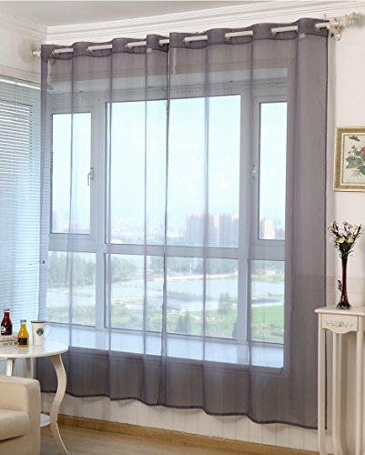 WOLTU VH5513dgr Gardine Vorhang transparent mit Ösen Ösenschal Ösenvorhang Fensterschal Dekoschal Voile 140x225 cm Dunkelgrau