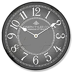 The Big Clock Store Gray & White Wall Clock, Available in 8 sizes, Most Sizes Ship 2-3 days, Whisper Quiet.