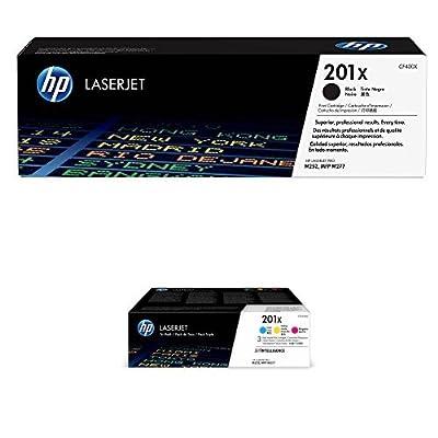 HP 201X Black High Yield and HP 201X High Yield Cyan/Magenta/Yellow Toner Cartridge Bundle (CF400X, CF401X, CF402X, CF403X) for HP Color LaserJet Pro M252dw, M277, M277c6, M277dw