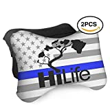 HASKDWHHK Thin Blue Line American Flag Hi Hawaii Car Neck Pillow (Soft Version)- Neck Pillow, Car Pillow, Memory Foam Neck Pillow, Neck Rest Pillow