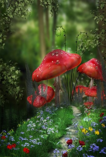 (AOFOTO 6x8ft Magic Forest Mushroom Backdrop For Photography Sweet Florets Vines Flowers Pathway Fairy Tale Background Photo Studio Props Kid Child Baby Girl Boy Artistic Portrait Wallpaper)