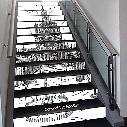 PUTIEN Creative Decorative 3D Self-Adhesive Stair Riser Decal - Stair Stickers Decals Wallpaper for Home Decoration,Path Through Dark Deep in Forest with Fog Halloween Creepy T,39.3