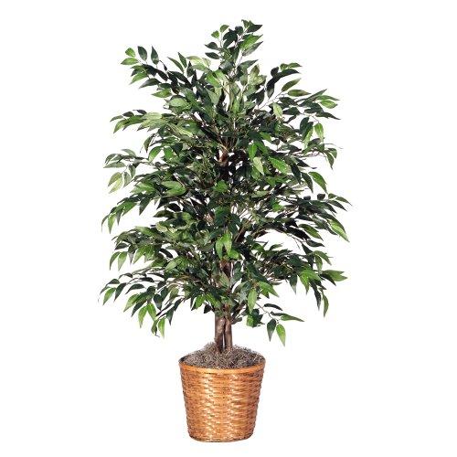 Vickerman 4' Artificial Green Smilax Bush set in Rattan Basket ()
