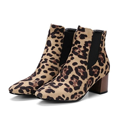 Mid Mid Mid Grandi Suede 40 Leopard Leopard Leopard Heel Rough Dimensione Pattern Partito leopardprint Square Chunky CYMIU 48 Basso Stivali Donne Stivali q7PtZxz