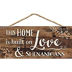 This Home is Built on Love Distressed Look 5 x 10 Wood Plank Design Hanging Sign