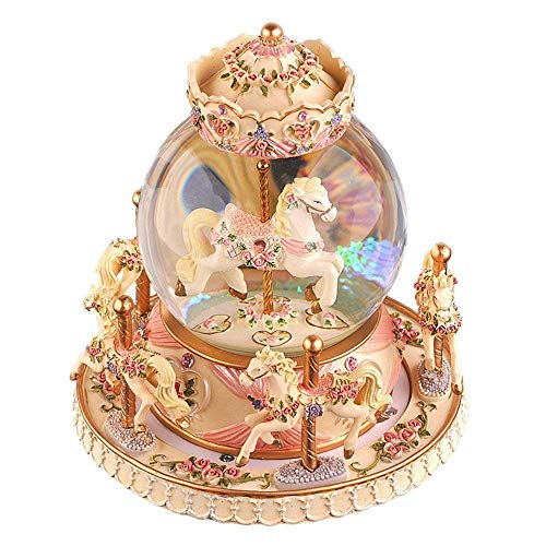 YOUDirect Rotate Music Box Carousel Crystal Ball Snow Globe with Castle in The Sky Tune and Light Up Color Changing Perfect for Birthday Gift Valentine's Day (Warm Yellow) ()