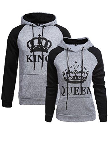 Matching Couple Hoodies King Queen His and Her Hoodies Pullover Sweatshirt (Grey, King-XL+Queen-M) by Double Fashion