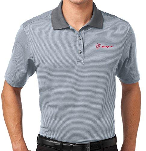 Mens Demon SRT Logo Fine Stripe Polo Shirt (Pocket Print), Large White/Shadow ()