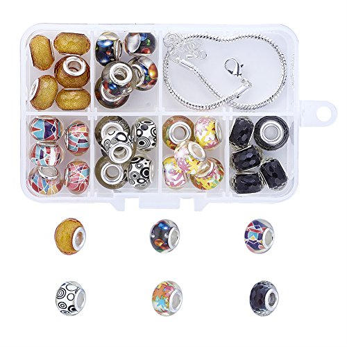 - Pandahall 1 Box European Charm Bracelet Making Kits with 30pcs Large Hole Beads & 6.3