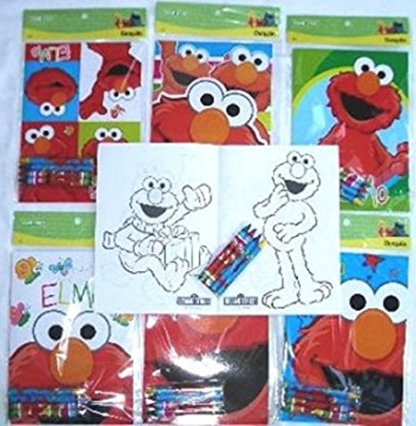 Amazon.com: 12 Sets of Sesame St Elmo Coloring Books and Crayon Set ...