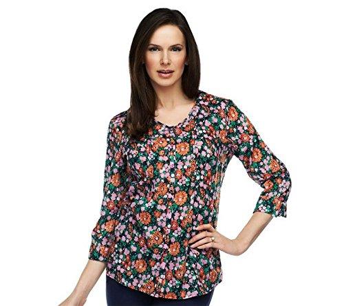 Liz Claiborne NY allover Print Tunic 3/4 Roll Tab Slv Pink Multi XXS New A230519 Liz Claiborne Woman Blouse
