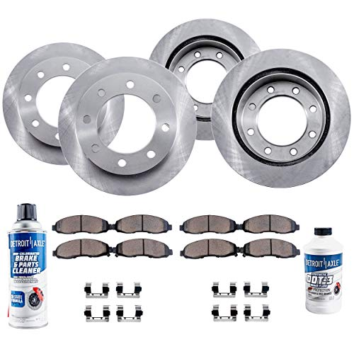 ete FRONT & REAR Brake Rotors & Ceramic Brake Pads w/Hardware, Brake Fluid & Cleaner for 8-Lug w/4.63