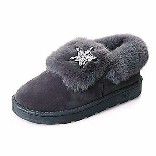 uk4 Rhinestone Partie cn36 Femmes Bottes Chaussures amp; Rouge eu36 gris Pour Occasionnels Zhudj Bout Rond Neige Plat us6 Talon D'hiver Soir Noir Gris Rose F74Bvnvg