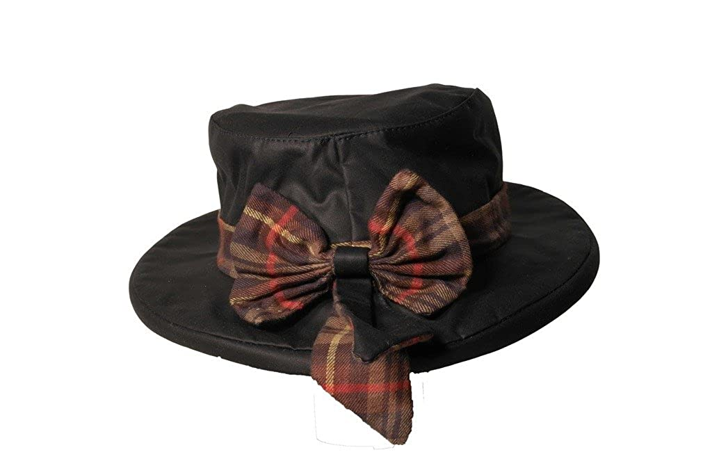 1930s Style Hats | Buy 30s Ladies Hats Walker and Hawkes Womens Wax Riding Thelma Bow Knot Hat With Tartan Trim $27.12 AT vintagedancer.com