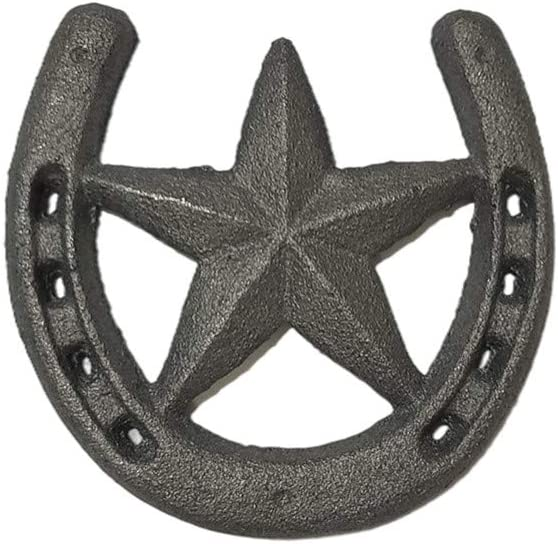 Cast Iron Horseshoe with Star Wall Decor, Medium Horseshoe Durable Cast Iron for Indoor Or Outdoor