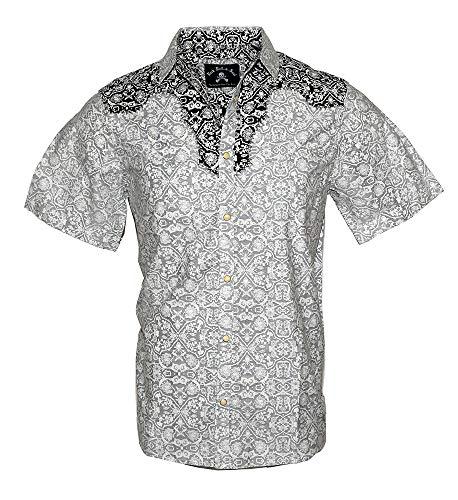 (Men's Short Sleeve Western Button Down Shirt 'Falling in Reverse' 219SSB (M) Black)