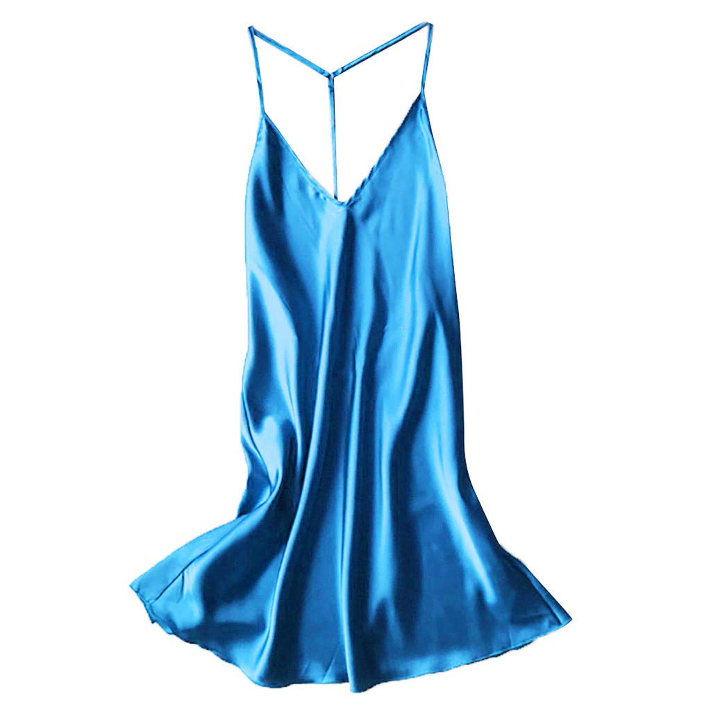 JFLYOU Women Sexy Pajamas Plus Size Satin Backless Sleepwear Babydoll Lingerie Nightdress(Sky Blue,L)