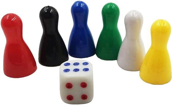 IPOTCH 6 Piezas De Ajedrez De Plástico con Dados, Figuras De Ajedrez De Repuesto, Figurillas, Peones para Ludo, Juegos De Mesa De Estrategia: Seis Colores: Amazon.es: Juguetes y juegos