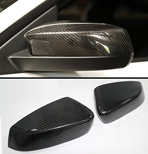 FOR 2010-2014 FORD MUSTANG GT COBRA DIRECT ADD-ON CARBON FIBER SIDE MIRROR COVER CAPS