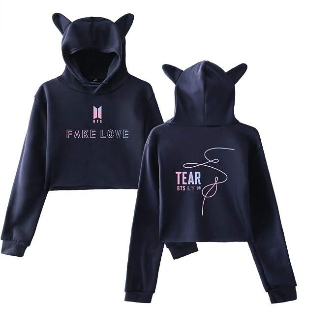 Haililais BTS Sudaderas con Capucha Casuales Mujeres Cropped Sweater Sueter Hipster Suéter Estampados Sudaderas Personalizadas: Amazon.es: Ropa y accesorios