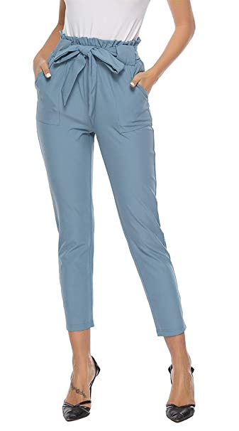 fb5142e0c16ef3 ezShe Women s Casual High Paperbag Waist Slim Cropped Ankle Pants at ...