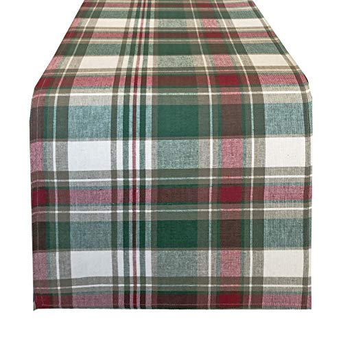 Trends Collection Christmas Cottage Plaid Cotton Weave Holiday Tablecloths (72