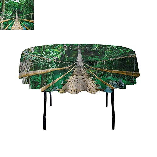 Curioly Tropical Waterproof Anti-Wrinkle no Pollution Bamboo Pedestrian Suspension Bridge Over River in Tropical Forest Philippines Table Cloth D67 Inch Green Beige