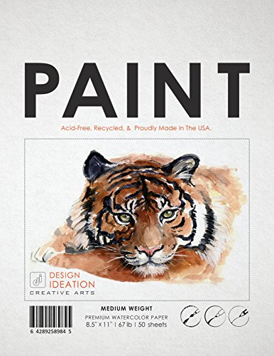 Premium Watercolor Paper for Pencil, Ink, Marker and Watercolor Paints. Great for Art, Design and Education. Loose Sheet Pack. (50 Sheets(8.5'' x 11'')) by Design Ideation