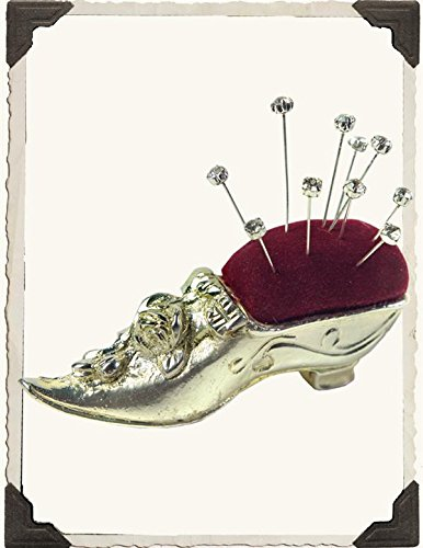 Victorian Trading Co Silverplate & Velvet Cinderella Lady Slipper Pincushion New ()
