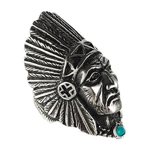 HIJONES Unisex Stainless Steel Indian Chief Tribe Ring with Turquoise Stone Size 10