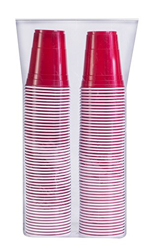 Party Pack Cups - Stack Man [ 16 oz-100 Pack] Red Party Cups, Cold Drink Plastic Disposable, 16 oz,