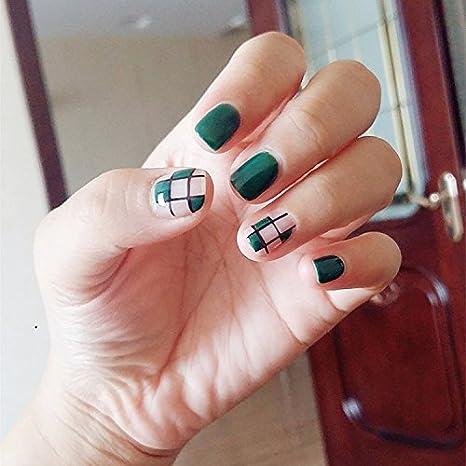 yunail 24pcs Vintage Emerald Check cuadrado corto completo uñas postizas Tips: Amazon.es: Belleza