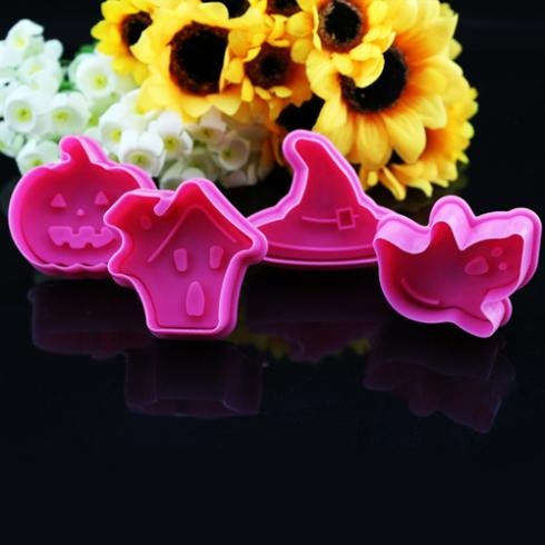 Mould - Christmas Cake Decorating 4pcs Set Halloween Pumpkin Sugarcraft Fondant Plunger Cutter Mode - Storage Scraper Flat Pink Cake Supplies Kids Professional Flowers Adjustable -