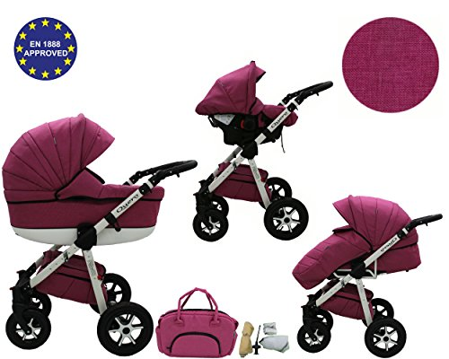 Quero, 3-in-1 Travel System with Baby Pram, Car Seat, Pushchair & Accessories. Linen Edition 2017 … (linen material No. 9)