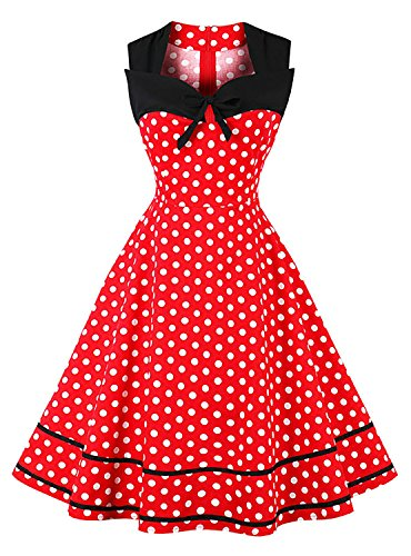 Killreal Women's Sleeveless Christmas Party Polka Dot Cocktail Dress for Holiday Black/Red X-Large]()