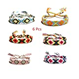 yti 6 Pcs Nepal Woven Friendship Bracelets for Men Women Handmade Boho Woven Strand Thread for Hair Ponytail