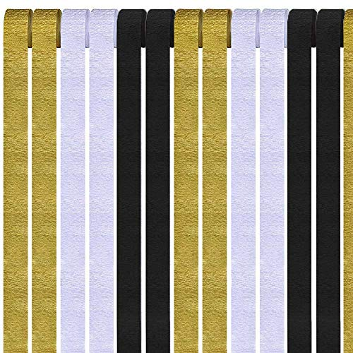 AimtoHome 12 Rolls Crepe Paper Streamers, Black White Gold Party Streamers Photo Booth Backdrop Decorations, for Birthday Party, Class Gathering, Family Gathering, Wedding, Baby Shower Decoration ()