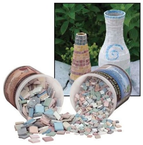 Aquastone Stone by Stone Mosaic Tiles - 3/4 Inch - 2 Lbs - 12-Color Assortment