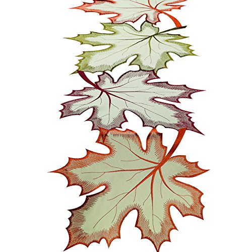 "DII 14x60"" Polyester Table Runner, Embroidered Maple Leaves - Perfect for Fall, Thanksgiving, Catering Events, or Everyday Use"