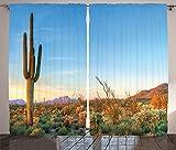 Saguaro Cactus Decor Curtains Sun Goes Down in Desert Prickly-pear Cactus Southwest Texas National Park Living Room Bedroom Decor 2 Panel Set Orange Blue Green