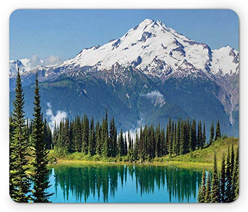 Mountain Mouse Pad, Crystal Clear Lake and Snowy Mountain Peaks Tops Hiking Theme Northern Lands Image, Standard Size Rectangle Non-Slip Rubber Mousepad, Green -