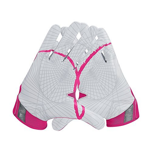- Nike Youth Vapor Jet 4.0 Football Gloves (Pink/White/Grey Breast Cancer Edition, Small)